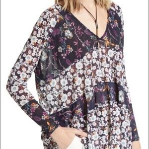 Free People Isabella Tunic In Navy Floral